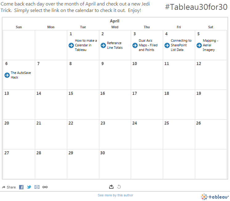 Tableau30for30 Calendar