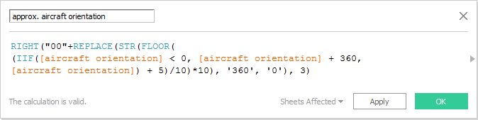 approx. aircraft orientation