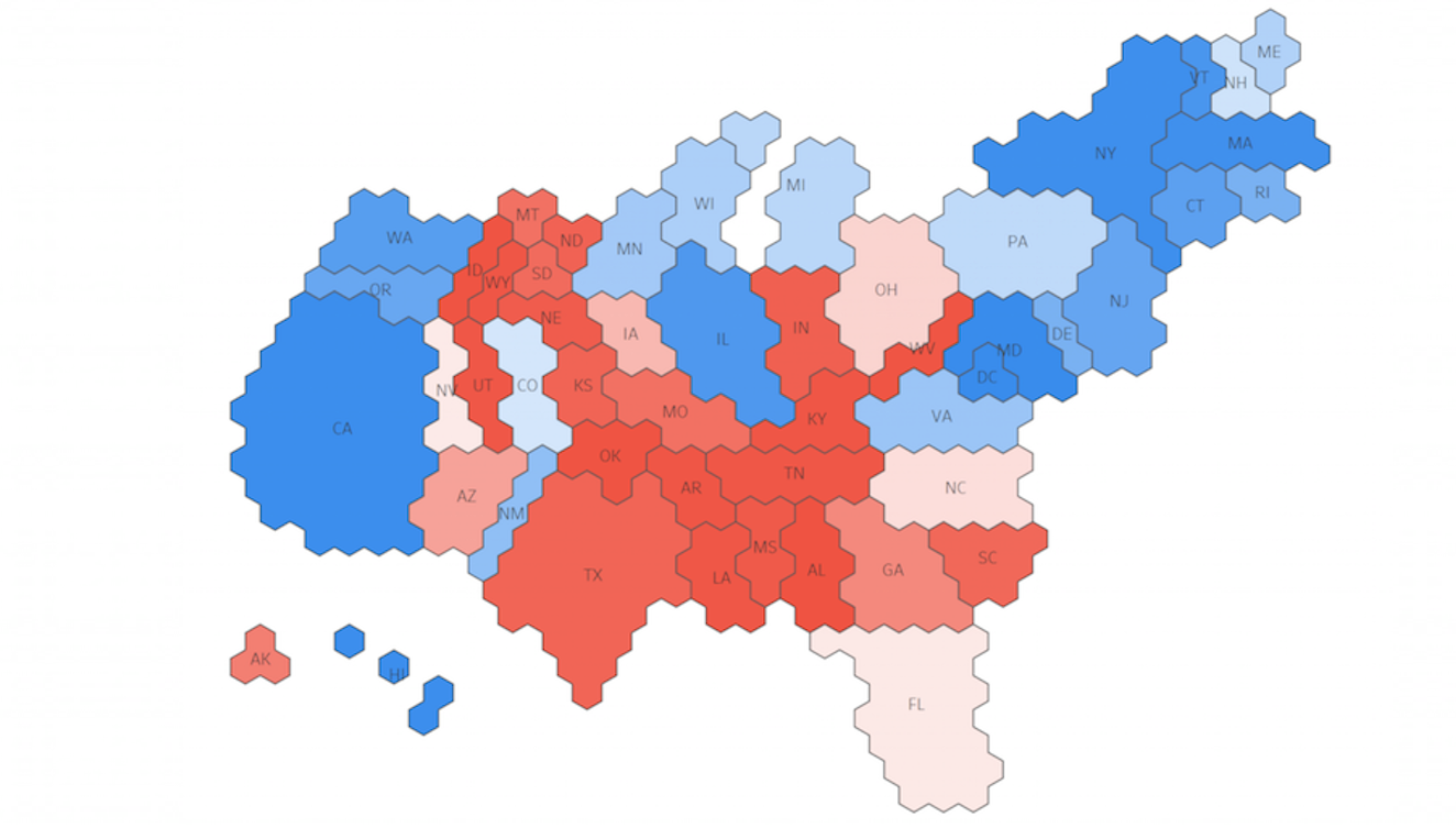 How To Create An ElectoralCollege Cartogram In Tableau Tableau - Us map by electoral vote