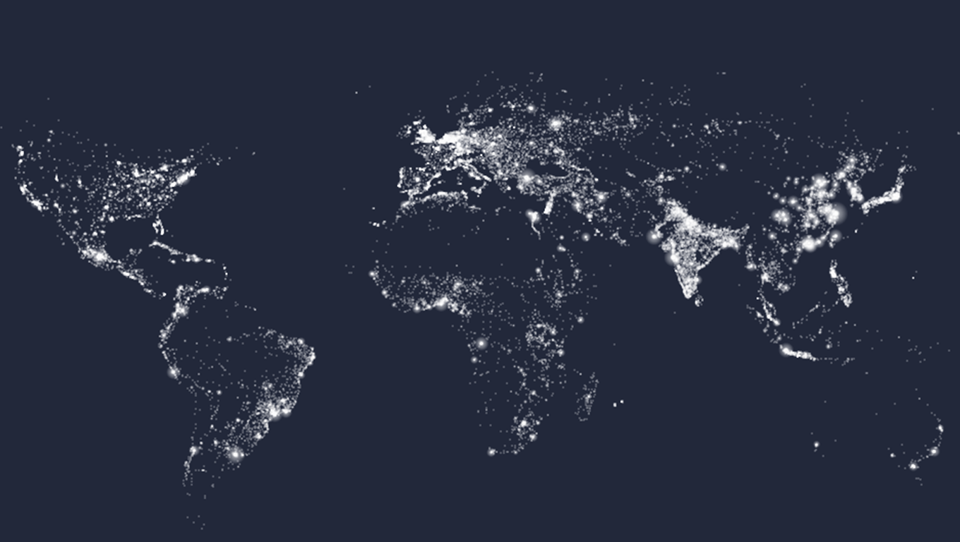 Visualization of cities with a population greater than 15,000 people