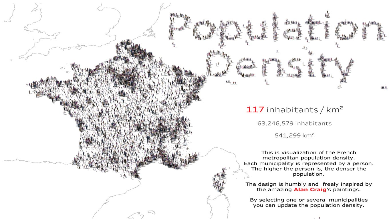 A visualisation of population density in France.