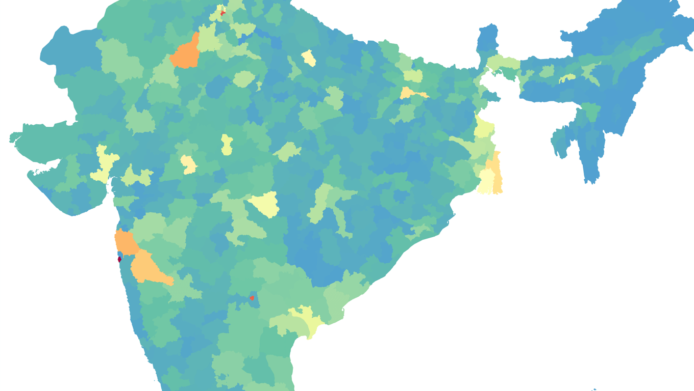 Districts in India colored by number of crimes from 2001 to 2014