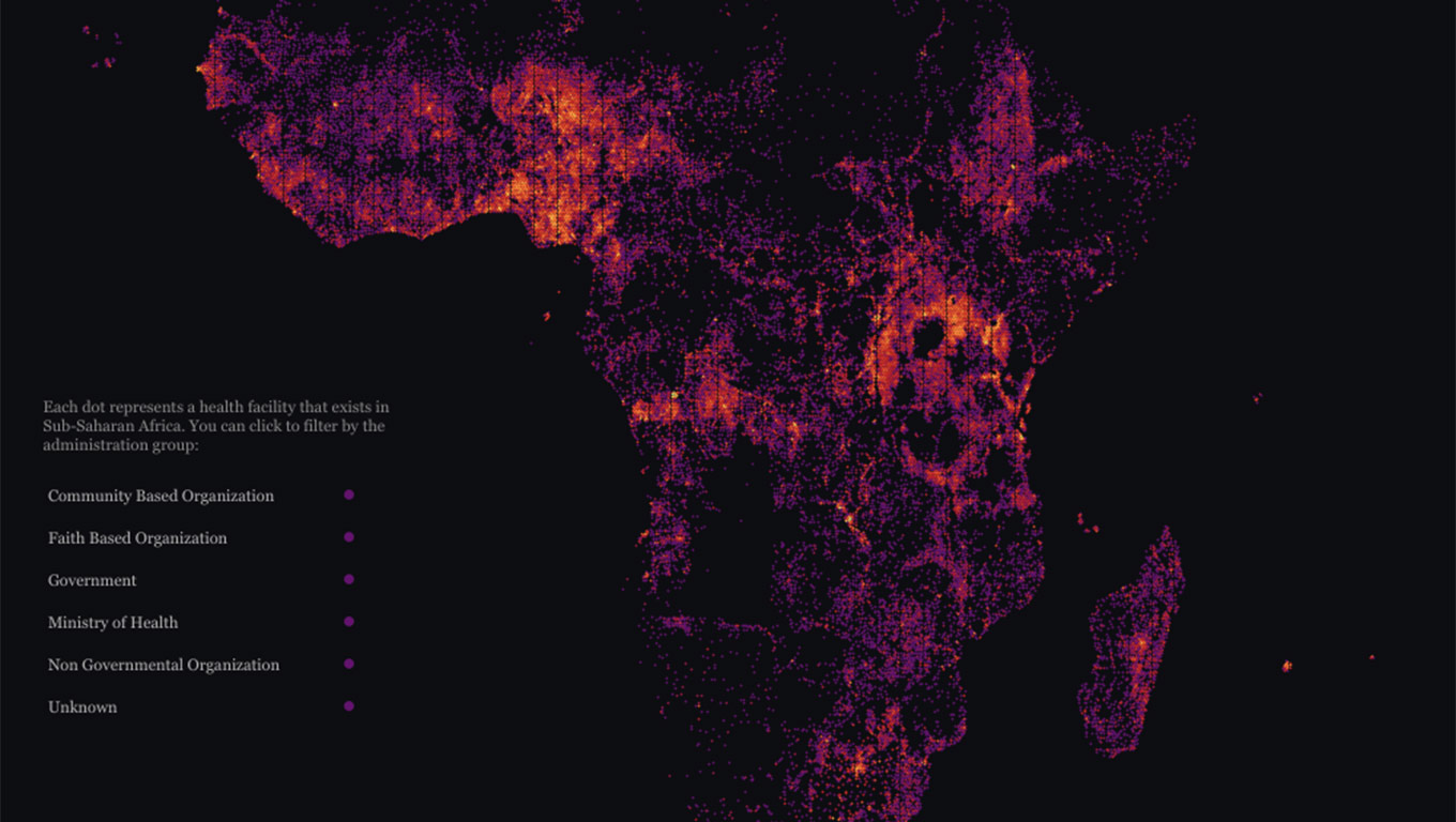 Visualization of health facilities in Africa