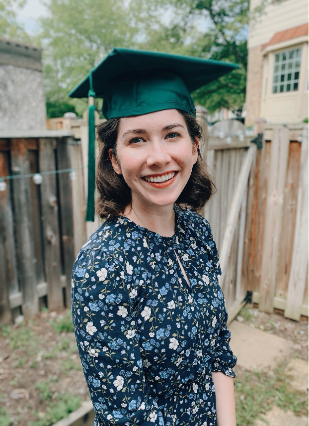 Maria pictured during her backyard Zoom graduation. She decided to make myself valedictorian this year!