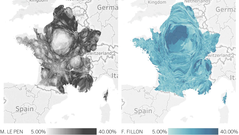 Jonathan Trajkovic erzählt in dieser Visualisierung der französischen Wahlen die Geschichte eines geteilten Landes.
