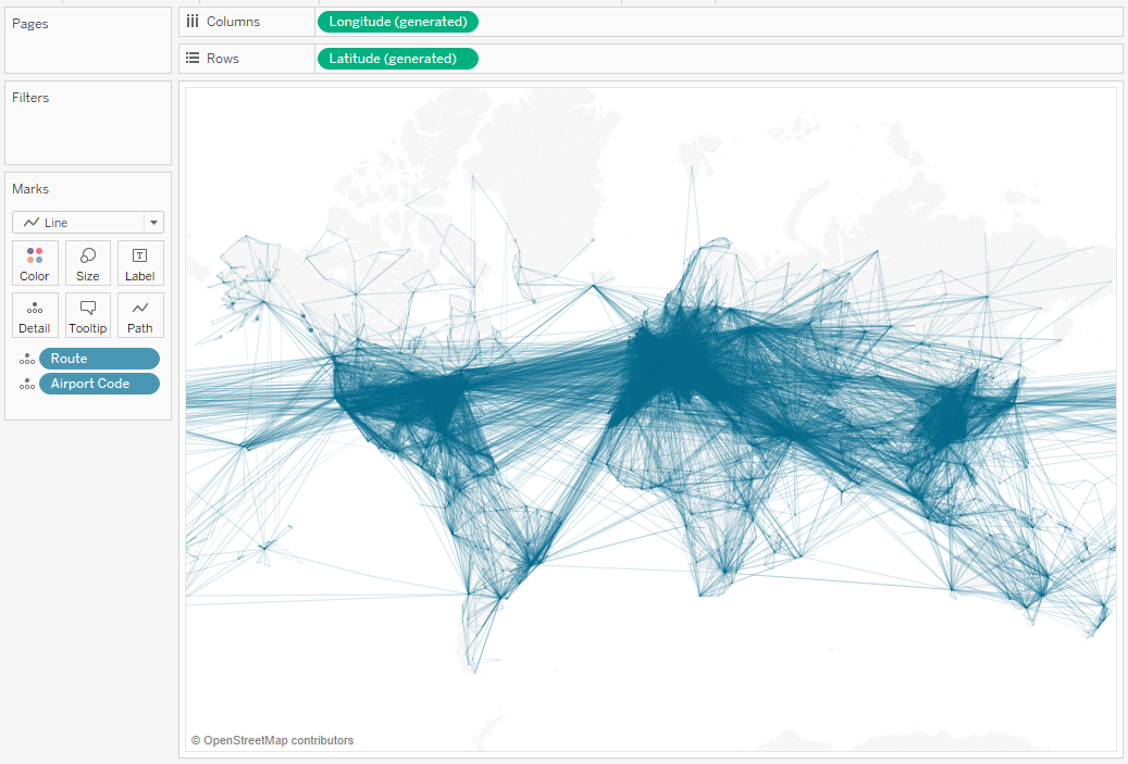 Flights of the World: How to map great circle routes in Tableau 10 4