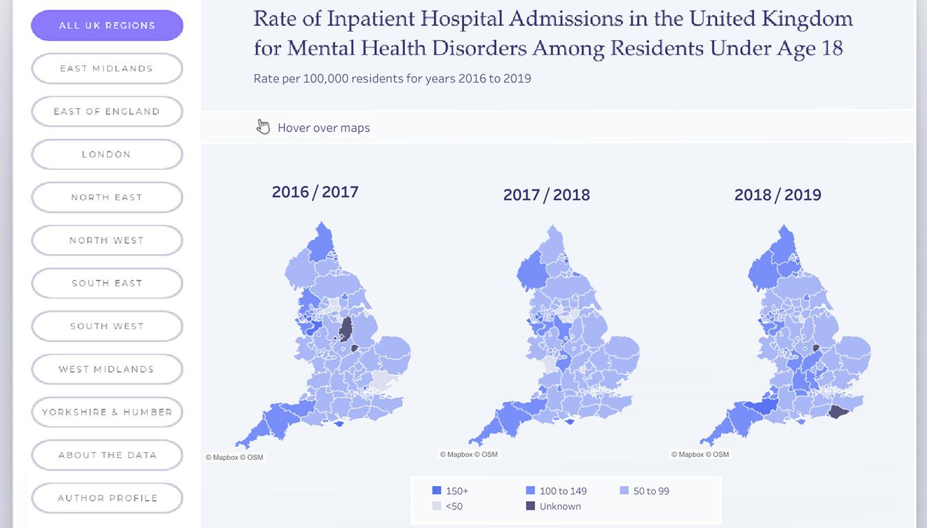Viz of UK Hospital Youth Admissions for Mental Health Conditions