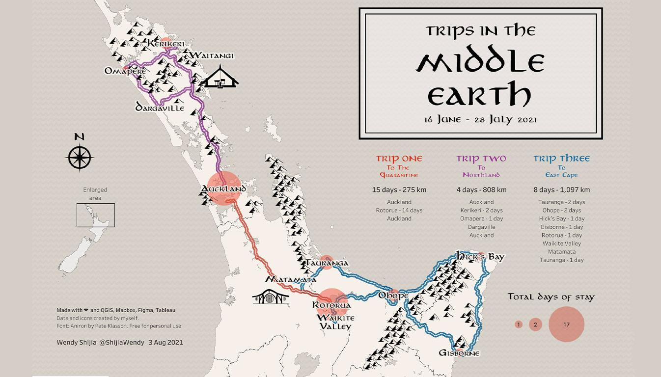 Viz of Trips in the Middle Earth