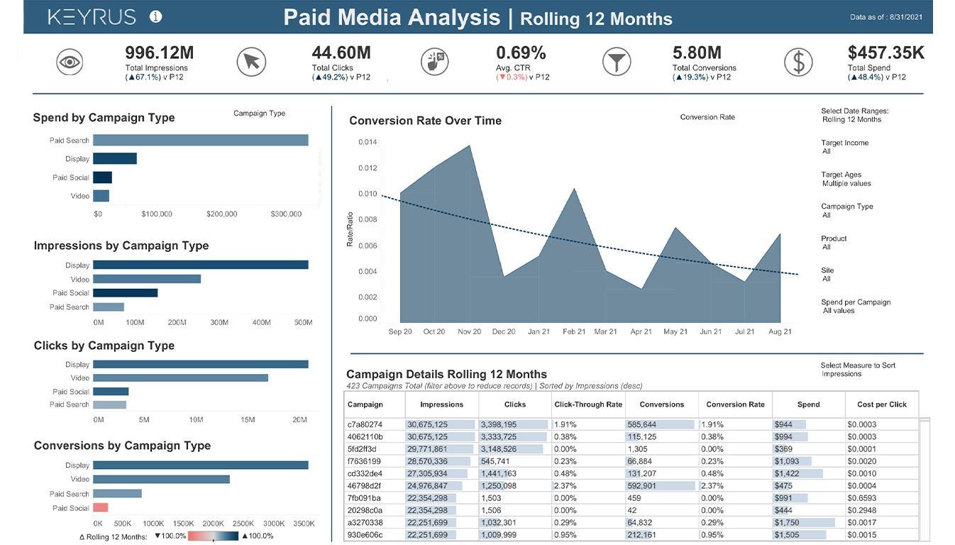 Viz of paid media analysis