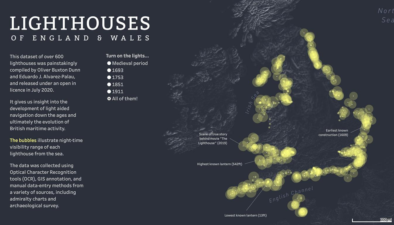 Visualization of lighthouses in England Wales