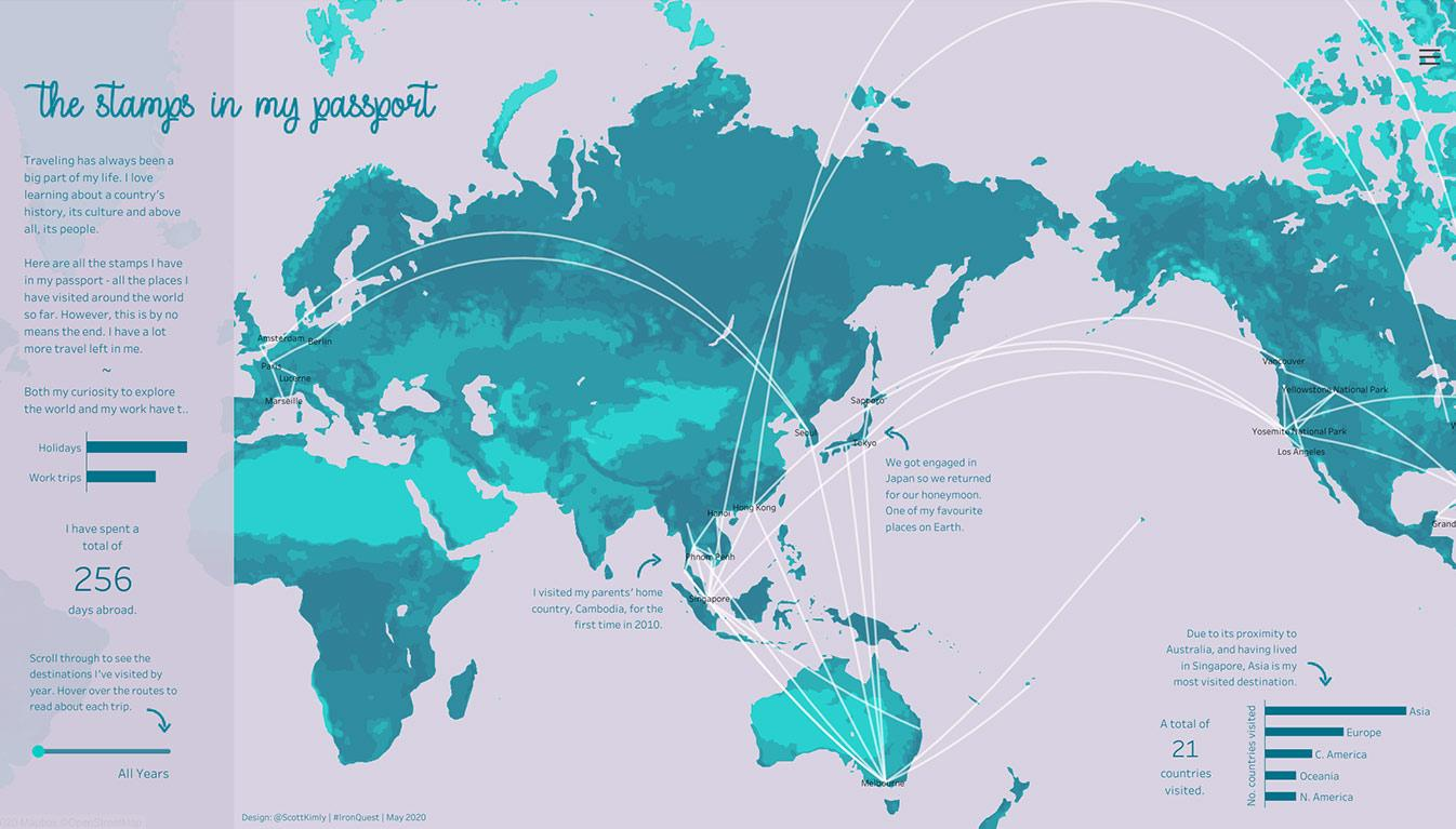 Visualization of Tableau Public author Kimly Scott's world travels