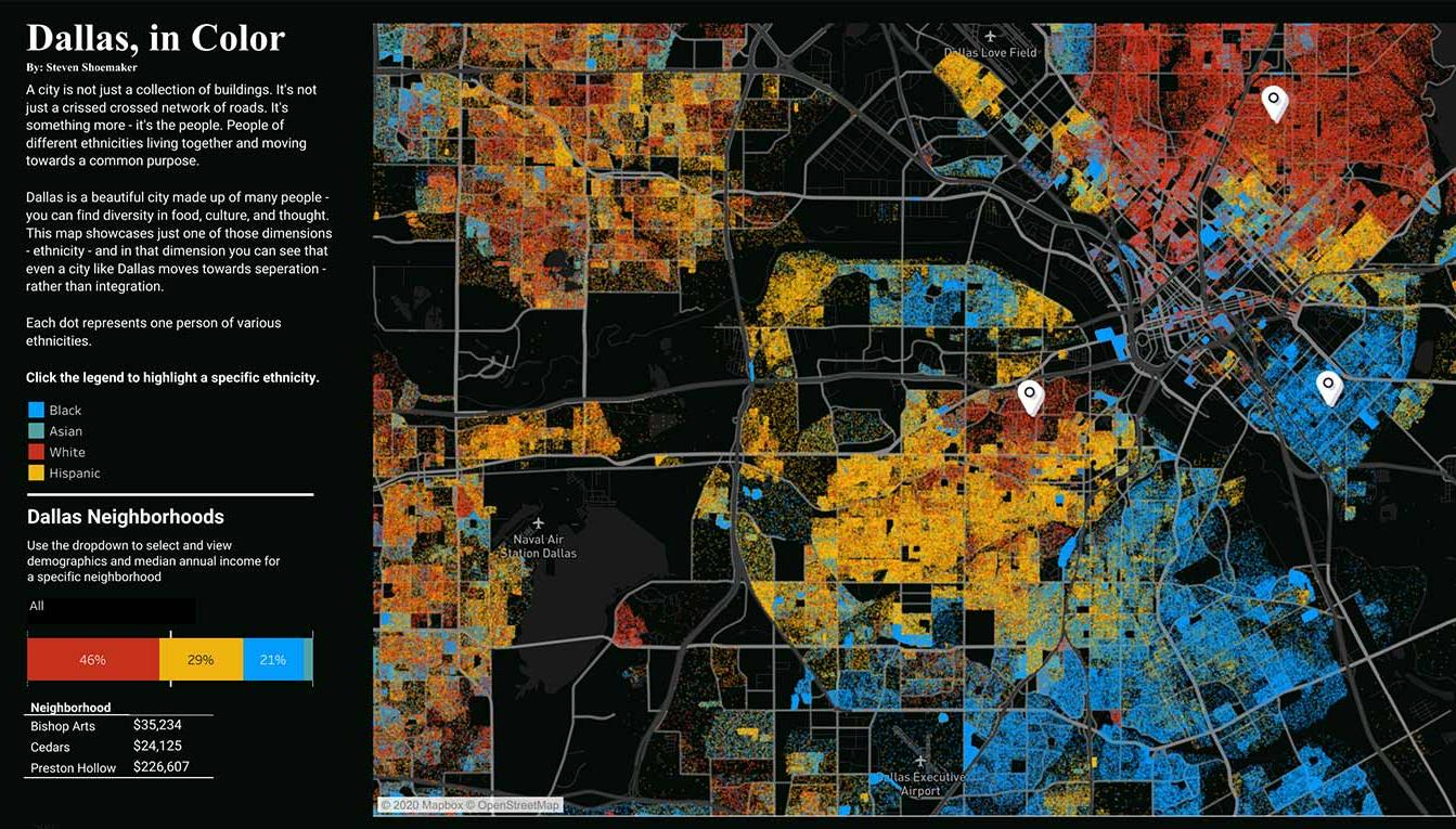 Visualization of different ethnicities in Dallas