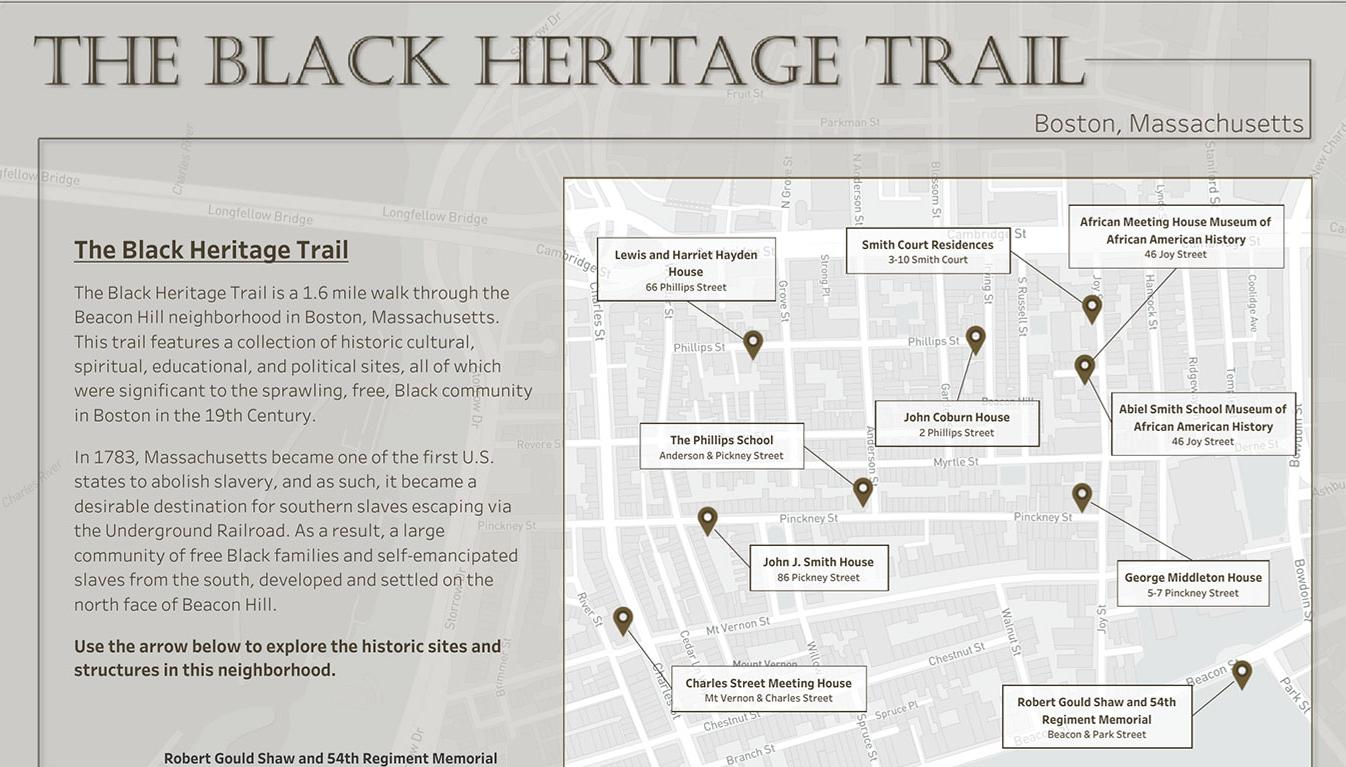 Visualization of the Black Heritage Trail in Boston, Massachussets