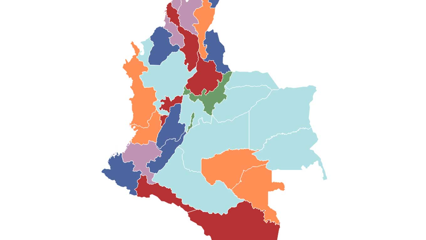 Map of 2018 Colombian parliamentary election, colored by party