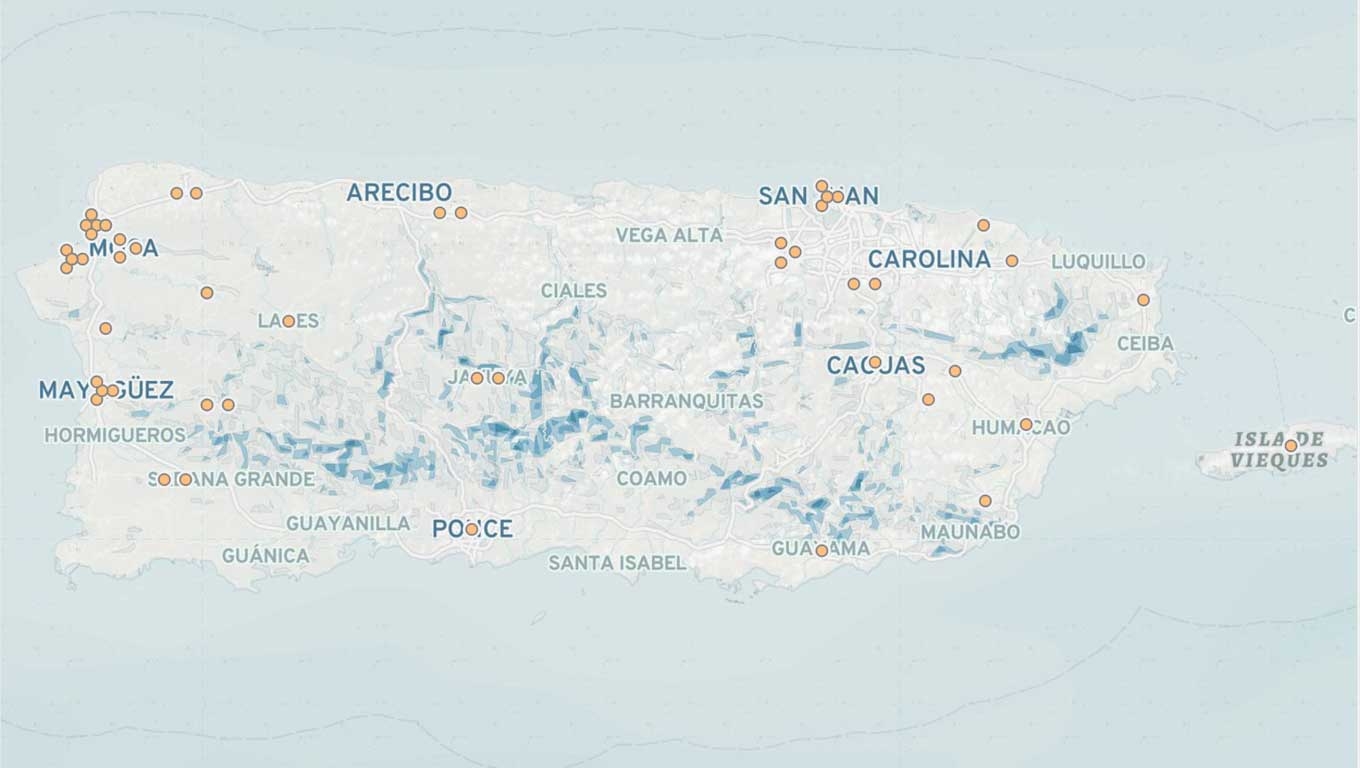 map of hurricane Maria relief in Puerto Rico