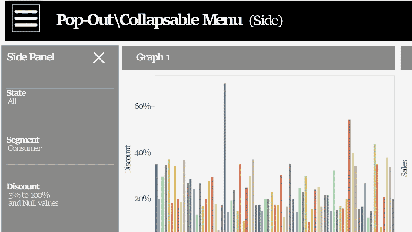 Hidden menu displayed on a Tableau Public viz