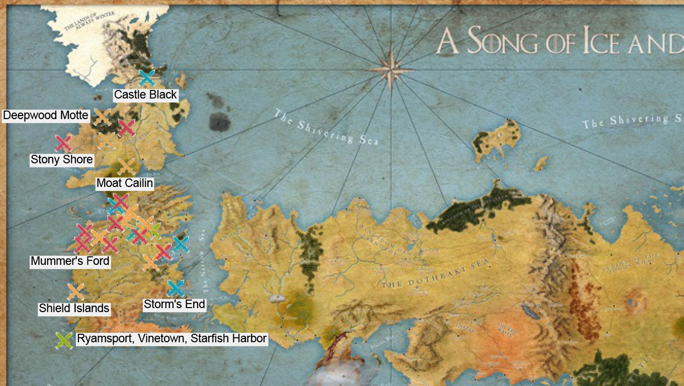 Map of Westeros, the Game of Thrones world, with marks for the battles in the books