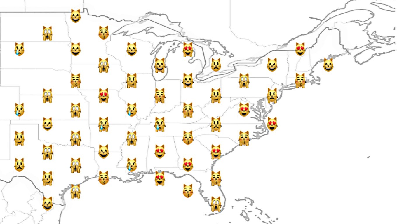 A visualisation using cat emojis to track profit and loss in US States.