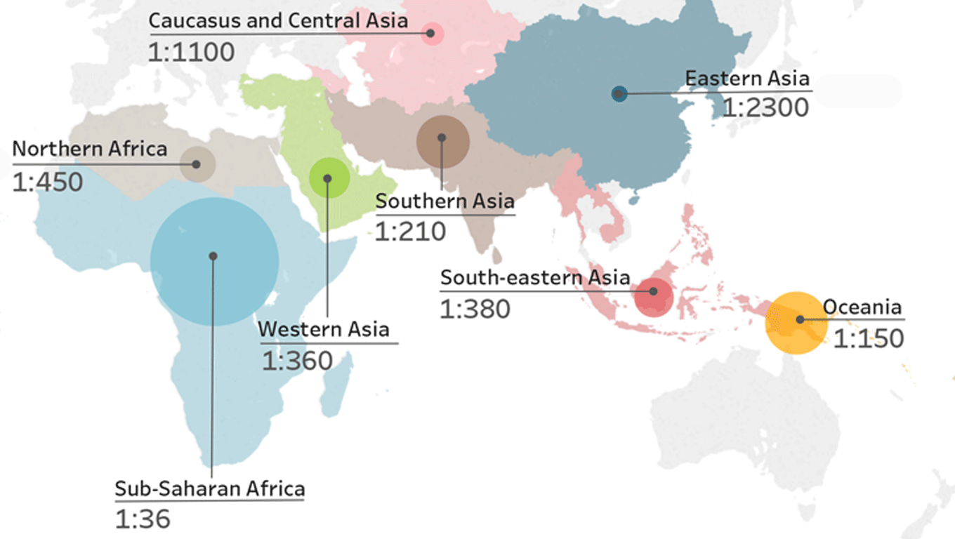 map of maternal mortality risk regions around the world