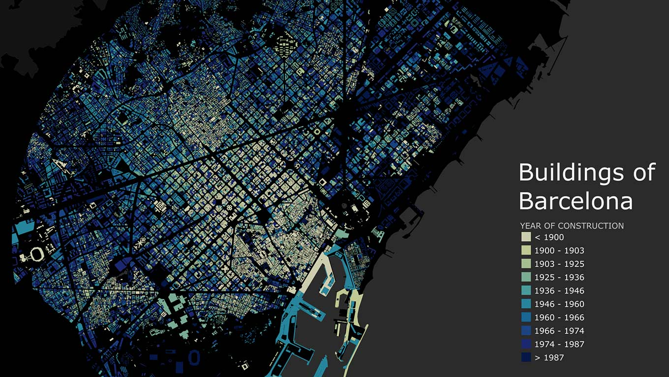 Different ages of buildings in Barcelona, Spain visualized by color