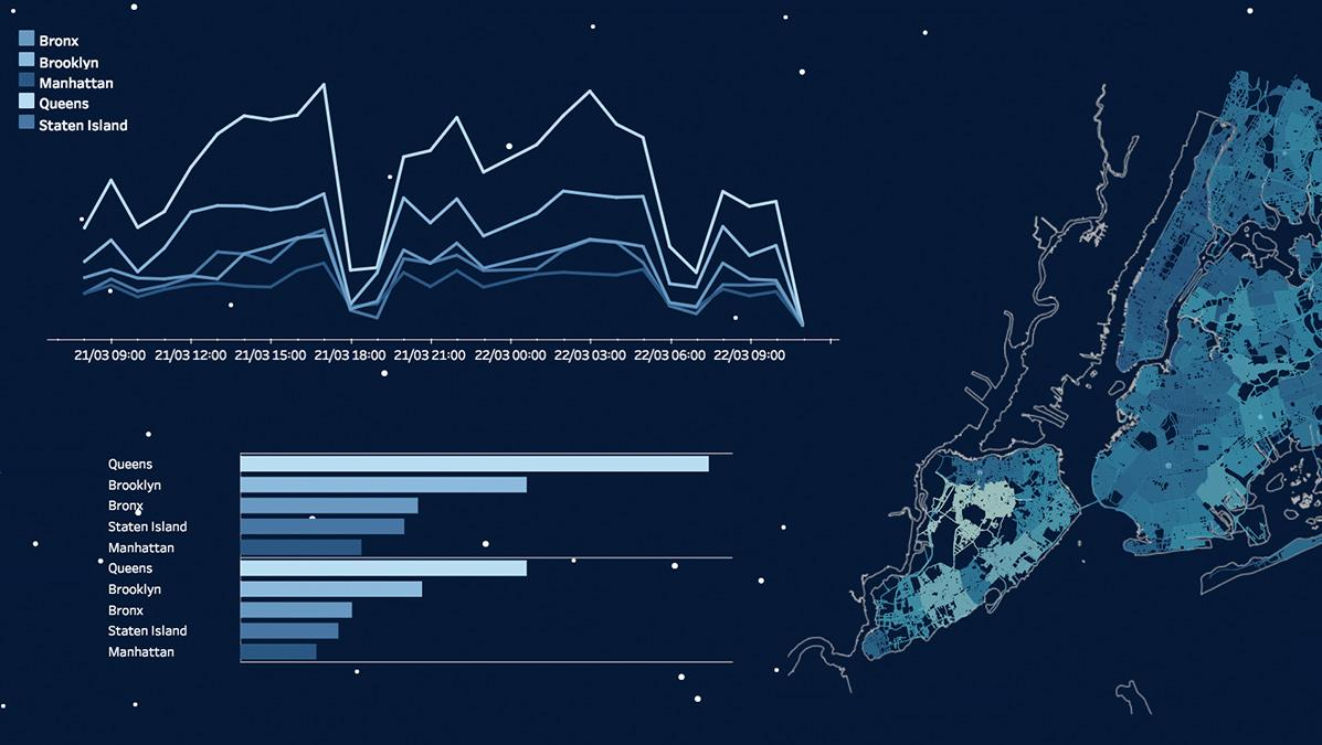 Snowplow routes in New York City visualized in Tableau with transparent sheets
