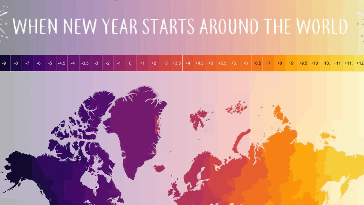 New Year time zones around the world interactive map Tableau