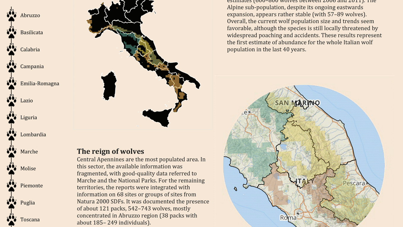 Map of Italy wolf population