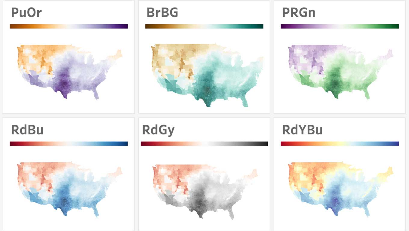 weather maps with diverging color palettes