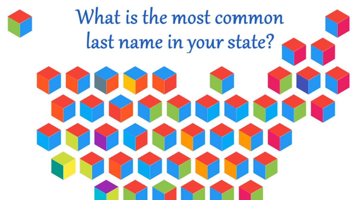 Common last names by state hex chart