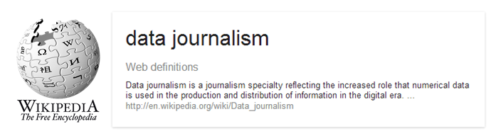 Data Journalism defined by Wikipedia