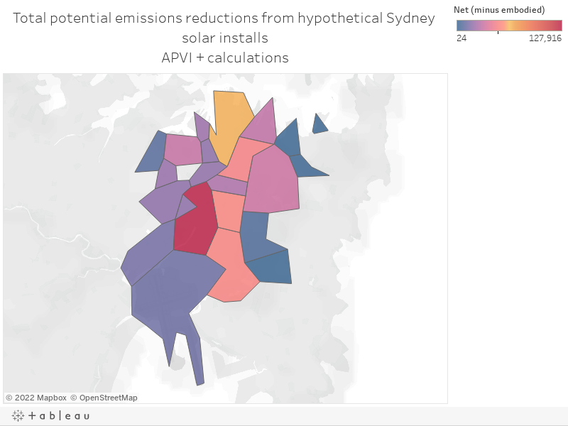Total potential emissions reductions from hypothetical Sydney solar installsAPVI + calculations