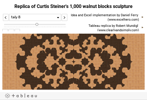 Replica of Curtis Steiner's 1,000 walnut blocks sculpture