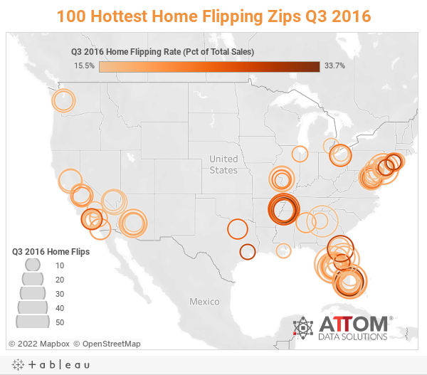 100 Hottest Home Flipping Zips Q3 2016