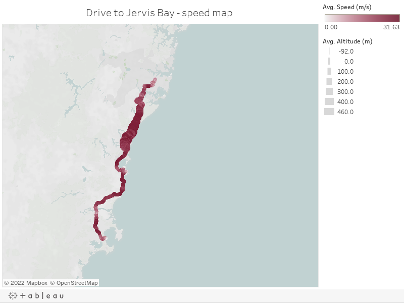 Drive to Jervis Bay - speed map