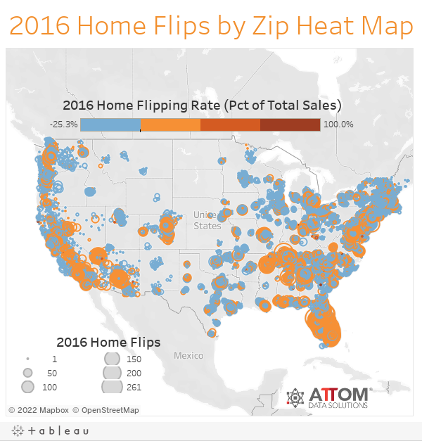 2016 Home Flips by Zip Heat Map
