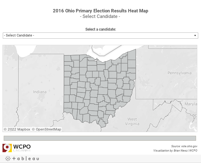 2016 Ohio Primary Election Results Heat Map