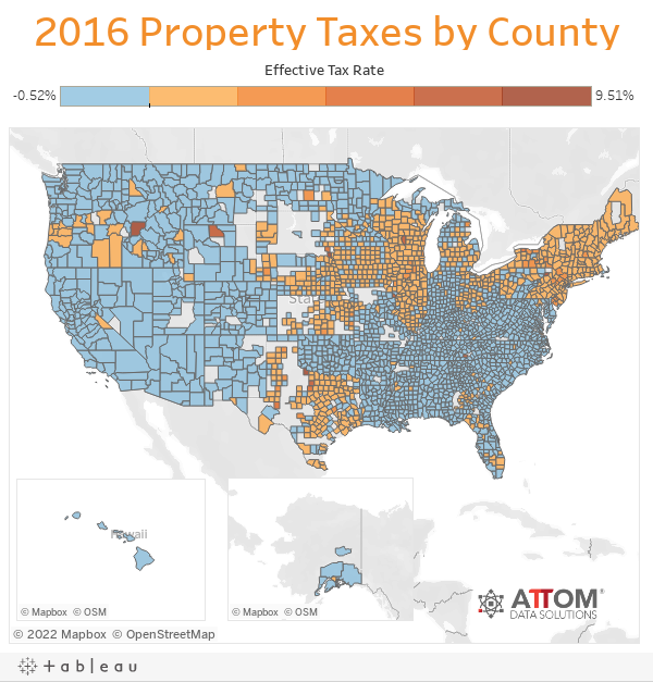 2016 Property Taxes by County