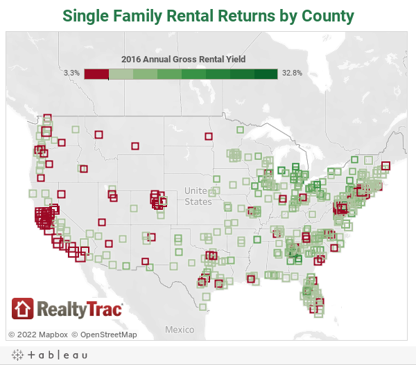 The Best Markets For Investing In SingleFamily Homes Right Now - Us rent map