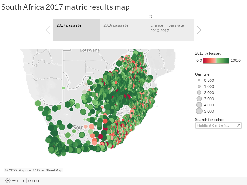 South Africa 2017 matric results map