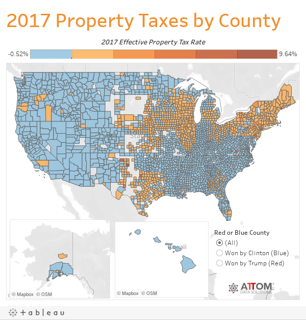U S  Property Taxes Levied on Single Family Homes in 2017