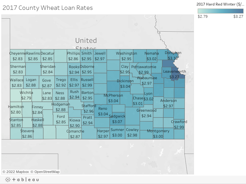 2017 County Wheat Loan Rates