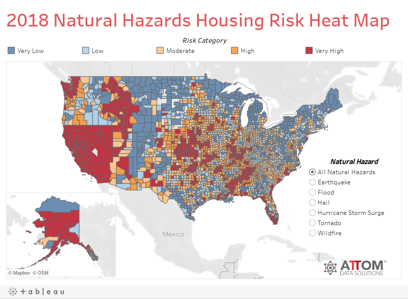 2018 Natural Hazards Housing Risk Heat Map