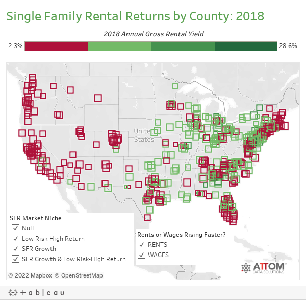 Single Family Rental Returns by County: 2018