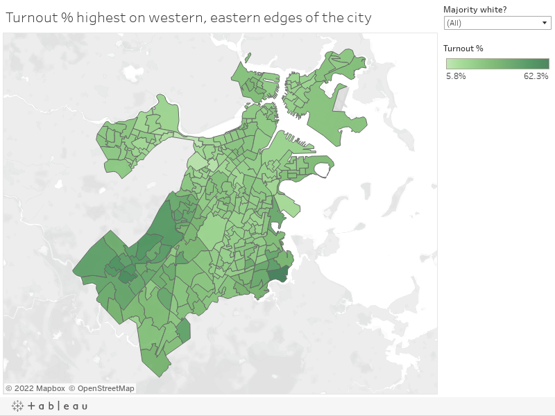 Turnout % highest on western, eastern edges of the city