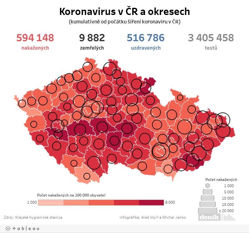Mapa koronavirus okresy