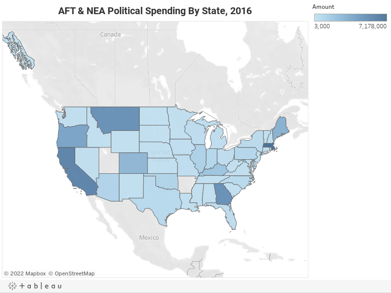 AFT & NEA Political Spending By State, 2016
