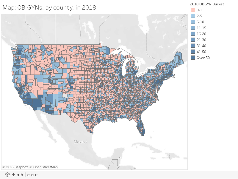 Map: OB-GYNs, by county, in 2018