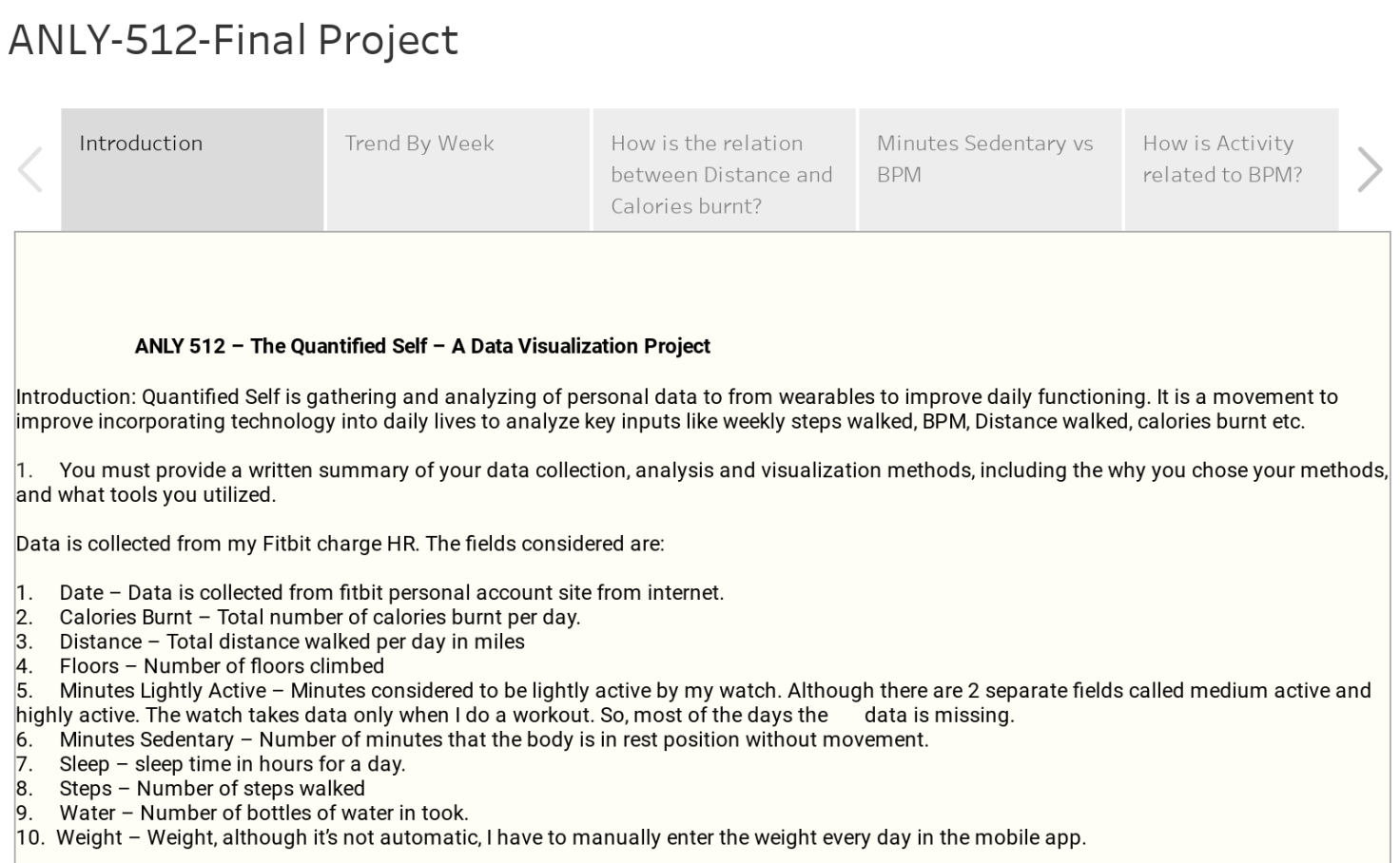 ANLY 512 Final Project - The Quantified Self - Venkata Kumar