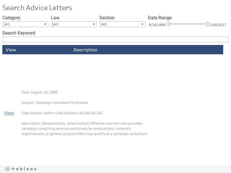 Search Advice Letters