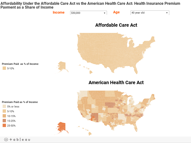Premiums And Tax Credits Under The Affordable Care Act Vs The American Health Care Act Interactive Maps The Henry J Kaiser Family Foundation